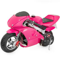 Pocket Bike Kids 40cc 4-Stroke Mini Bike Gas Motor EPA Engine Superbike -Pink