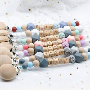 Personalised Name Baby Pacifier Clips Silicone Wooden Beads Soother Chain Holder