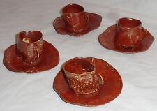 4 Primitive Handmade Clay Glazed Espresso Demitasse Coffee Cups & Saucers MAJA