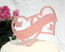 PERSONALISED WEDDING CAKE TOPPER DECORATION WITH NAME & DATE IN COLOURED ACRYLIC