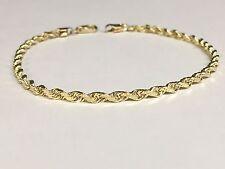 """10k oro amarillo macizo de corte de diamante Cuerda pulsera de cadena de 7 """" 3 Mm 3,5 Gramos (023rr)"""