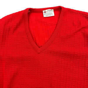 Avon P Celli 100% Wool V Neck Sweater Vintage Size 44 Red Made in Italy