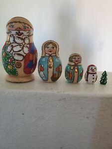 "5 pcs Russian Nesting Doll  Santa Claus 3.75"".RUSSIAN Gift Christmas. Signed."