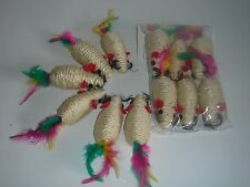 Cat Toy Lot 6 Rattle Roped Mice///Pet mouse brand new