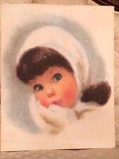 "Picture Print Vintage Brown Hair Blue Eyes Baby Girl 11 x 14""  Nursery Framable"