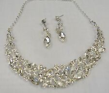 Clear Rhinestone Crystal Silver Statement Necklace Set Prom Bridal Dance # 17201