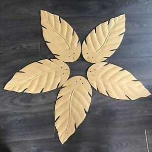 "5 Palm Leaf Plastic Ceiling Fan Blades Tropical Home Decor 21"" x 10"" Tan Brown"