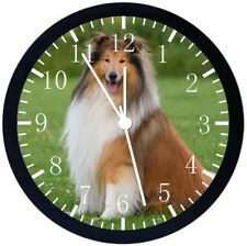 Rough Collie Dog Black Frame Wall Clock Nice For Decor or Gifts F60