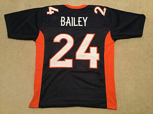 UNSIGNED CUSTOM Sewn Stitched Champ Bailey Blue Jersey - Extra Large