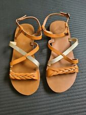 Roxy Brown Tan Leather Sandals UK 6