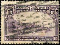 Used Canada 1906 10c F Scott #101 Quebec Tercentenary Issue Stamp