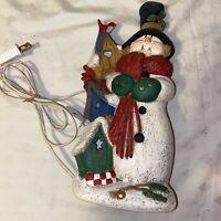 Vintage Ceramic Snowman Lights Up Mold Christmas Lamp Night Light Pretty