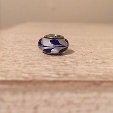 Pandora Authentic Silver Murano Glass Blue Swirl Charm Bead 790675 Retired