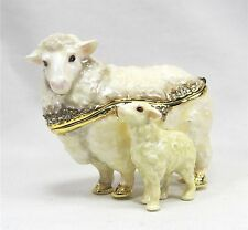Sheep with baby Jeweled Pewter Trinket Box Animal Collectible Home Decor