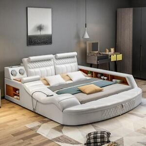 Modern High Luxury Massage Bed Smart Multifunctional Italian Leather King Size