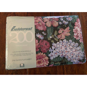 Brand New/Sealed Fieldcrest 200 Thread Count One Queen Flat Floral Sheet