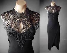 Black Lace Choker High Neck Victorian Goth Wicca Vampire Evening 117 ac Dress S