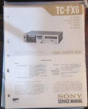 Sony TC-FX6 registratore a cassette Servizio di Riparazione Officina Manuale (copia originale)