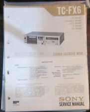 Sony TC-FX6 Manual de taller de reparación de servicio Platina de cassette (copia Original)