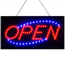 Led Neon Open Sign for Business Displays: Light Up Sign Open with 2 Flashing - x