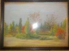 Early Pastel Painting Fall Autumn Trees by A. Chase 1909