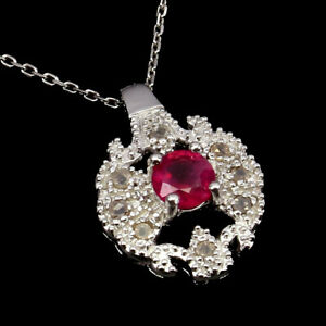 Round Red Ruby 5mm 8pcs Diamond Round Rose Cut 925 Sterling Silver Necklace 18