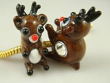 SILVER MURANO GLASS BEAD LAMPWORK Animal Fit sterling 925 Necklace Bracelet a15
