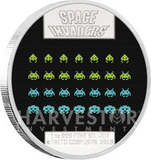 2018 SPACE INVADERS 40TH ANNIVERSARY - 1 OZ. SILVER COIN - LENTICULAR - OGP COA