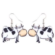 Acrylic Cow Dairy Cattle Earrings Drop Dangle Animal Jewelry For Women Kid Gifts