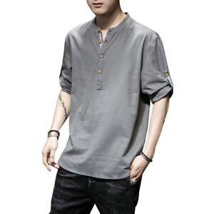 Men Cotton Linen Top Tee Shirt Roll Up 3/4 Sleeve Button Henley Neck T-shirt Top
