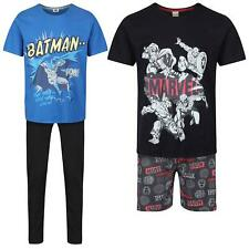 Mens Marvel Batmas Pyjamas Cotton Short Sleeve Superhero Lounge Wear PJ Set