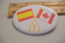 ~MCDONALDS~SPAIN & CANADA FLAGS~OVAL BUTTON PIN~
