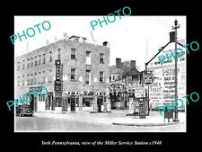 OLD LARGE HISTORIC PHOTO OF YORK PENNSYLVANIA, THE MILLER SERVICE STATION c1940