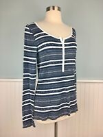Size M-Large Lucky Brand Women's Navy White Thermal Long Sleeve Shirt Top Blouse