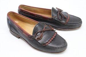 Allen Edmonds Woodstock Mens Dress Shoes 9.5 D Black Brown Kiltie Loafers Laced