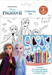 Frozen 2 Colouring Set - 8 Colour In Sheets , 6 Pencils & Stickers Sheet