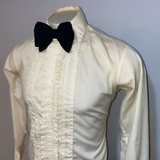 Vtg 60s 70s Cream Palm Beach Lace Ruffles Dress Tuxedo shirt Prom Mens Medium