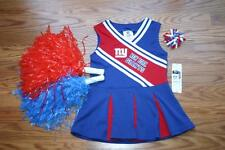 CHEERLEADER OUTFIT HALLOWEEN COSTUME NY GIANTS UNIFORM DRESS POM POMS BOW 2T