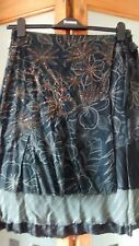 VILA UNUSUAL  BLACK/BROWN MOCK WRAP SKIRT WITH SEQUINS/LUREX SIZE S FESTIVAL