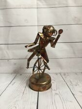 Unicycle Clown girl Wind Up Brass Work Vintage Music Box Plays Send in the Clown