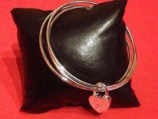 Bracelet Jonc Triple en Argent 925/°°° avec Cadenas de liaison Coeur 70 mm/ 2 mm