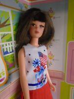 Mattel Repro Francie Barbie Doll wearing a OOAK Fashion