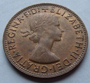 AU 1964 Australia Kangaroo Penny, High Grade AU surfaces. Very Nice Bronze Coin.