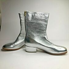 JOIE Rabie Metallic Silver Leather Boots Block Heel Size 38