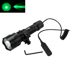 New C8 Green Light LED Hog Night Hunting Flashlight For Rifle W/Scope Mount
