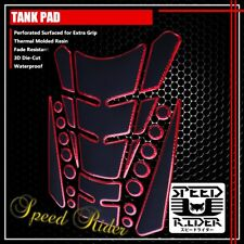 13PC CUSTOMIZABLE TANK PAD PROTECTOR GUARD DECAL STICKER BLACK/CHROMED RED EDGE