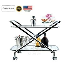 Modern Shape Tea Wine Coffe Dinner Bar Cart Glass Bottom durable chrome frame