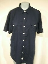 Seaside Poplin by Izod Blue Button Down Shirt Sport XL 100% Cotton  R22