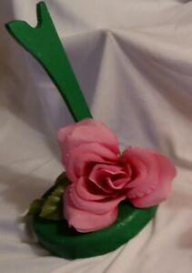 Handmade OOAK Wood Barbie/Ken Doll Saddle Stand~Glittering Green w/Pink Rose