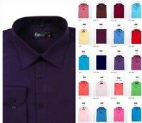 Dress Shirts Men's Regular Fit Long Sleeve One Pocket Solid Color Shirt
